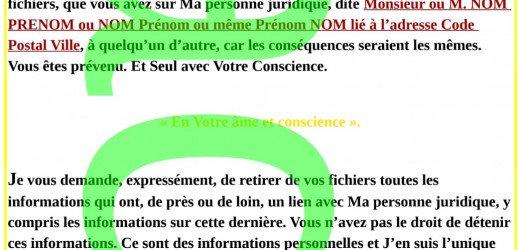 Lettre Pour Se Défendre des huissiers #DéclarationDeSouveraineté Car Système Désordonné